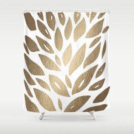 Floral petals burst - gold Shower Curtain