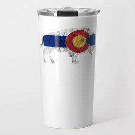 Native Colorado Gifts CO Flag Colorado Pride Buffalo Grunge Travel Mug