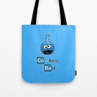 cooking Tote Bags featuring Cooking Bad by Loku