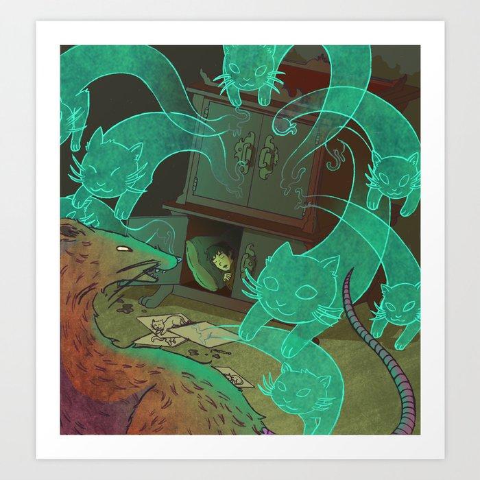 The Boy Who Drew Cats  Art Print