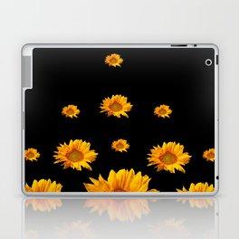 RAINING GOLDEN YELLOW SUNFLOWERS BLACK COLOR Laptop & iPad Skin