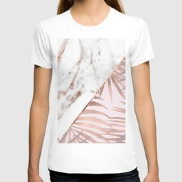 Rose gold marble & tropical ferns T-shirt