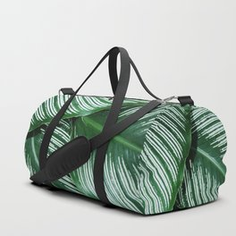 Green Tropical Leaves with White Stripes Closeup Duffle Bag