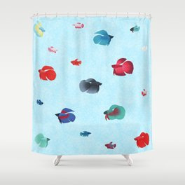 Betta Splendens Black Veiltail Male Shower Curtain