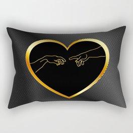 Creation of Adam inside a golden heart and metallic texture Rectangular Pillow