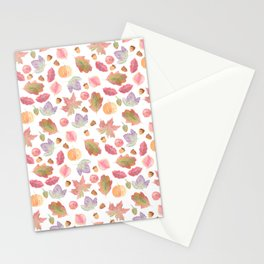 Watercolor Fall Leaves Stationery Cards