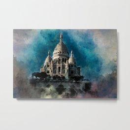 Sacré Coeur Watercolor Metal Print