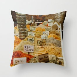 Souk vacation feeling   Traditional spices in market in Tel Aviv, Israel   Colorful travel photography   Fine art print Throw Pillow