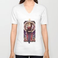 bad wolf V-neck T-shirts featuring Bad Wolf by Megan Lara