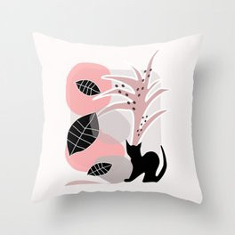 Cat with Tree 2 Throw Pillow