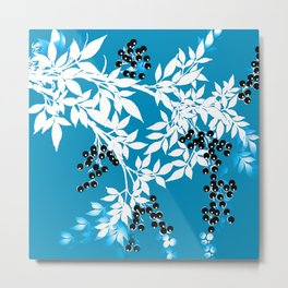 TREE BRANCHES BLUE AND WHITE WITH BLACK BERRIES TOILE Metal Print