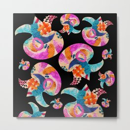 pattern with embroidered lilies Metal Print