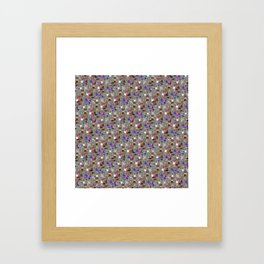 Small Print Dog Weim Nation Grey Ghost Weimaraner Hand-painted Pet Pattern on Khaki Beige Framed Art Print