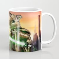 jedi Mugs featuring Gerbil Jedi by Wesley S Abney