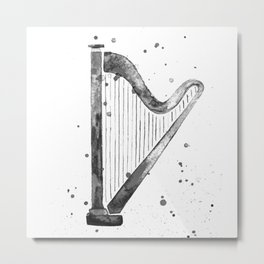 Harp, black and white Metal Print
