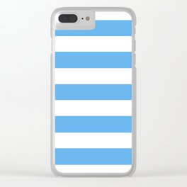 Blue jeans - solid color - white stripes pattern Clear iPhone Case