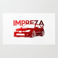 subaru Area & Throw Rugs featuring Subaru Impreza 2006 - classic red - by Vehicle
