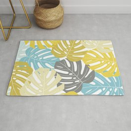 Colourful tropical leaves Rug