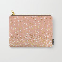 Floating Confetti - Peach and Gold Carry-All Pouch