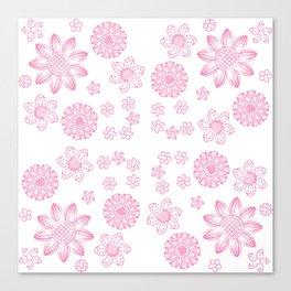 Grunge Garden | Deep Pink Floral Design Canvas Print