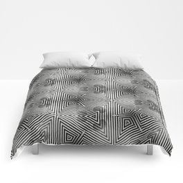 It's Alive! Black and White Op-art Comforters