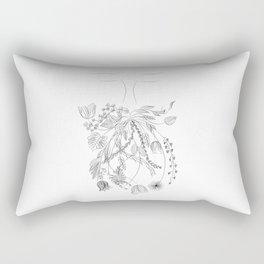 Man with flower beard - nature plants - black and white illustration Rectangular Pillow