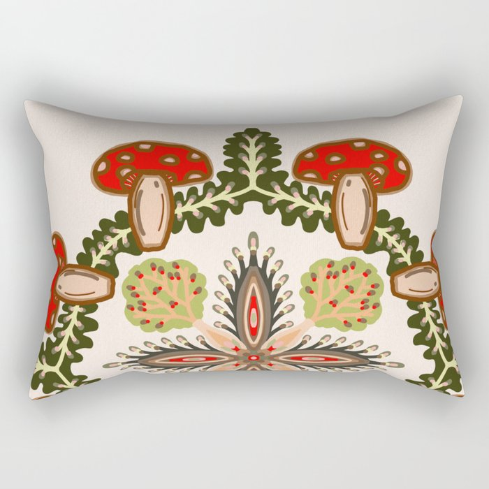 Fly Agaric Toadstool Forest Folkart, Red Fungi Mushroom Design with Trees Rectangular Pillow