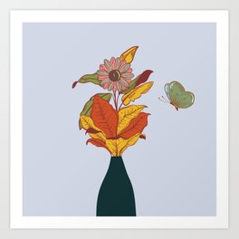 flower and butterfly vase Art Print