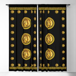 Greek Key and Coin - Black Blackout Curtain