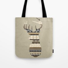 Dusty Stag Head Aztec Print Tote Bag
