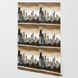 chicago skyline at dusk Wallpaper