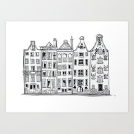 Amsterdam Canal Houses Sketch Art Print