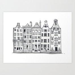 Amsterdam Canal Houses Sketch Art Print