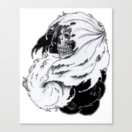 Skull Engulfed by Ocean Waves Canvas Print