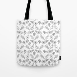 Black and White Fern Illustrated Print Tote Bag