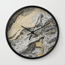 Vintage chic black gold yellow abstract marble Wall Clock