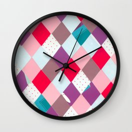 Collage geometric diamonds Wall Clock