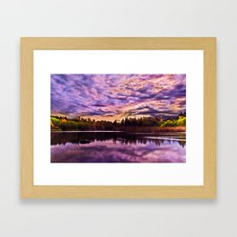 Surreal Purple Clouds Reflecting on Calm Water Framed Art Print