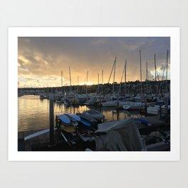 Sunset at the Yacht Club Art Print