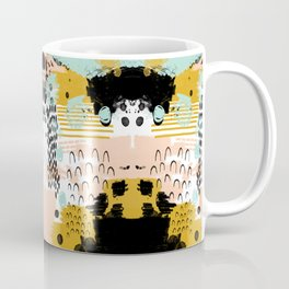 Ames - Abstract painting in free style with modern colors navy gold blush white mint Coffee Mug