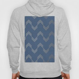 Simply Deconstructed Chevron White Gold Sands  on Aegean Blue Hoody