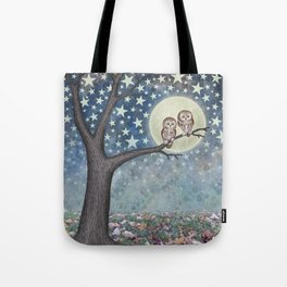 northern saw whet owls under the stars Tote Bag