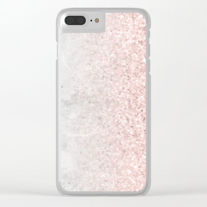 1b2fc213b944 Real Marble and Rose Gold Mermaid Sparkles III Clear iPhone Case by  naturemagick