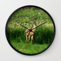 minnesota Wall Clocks featuring Minnesota Doe by Mezzilicious