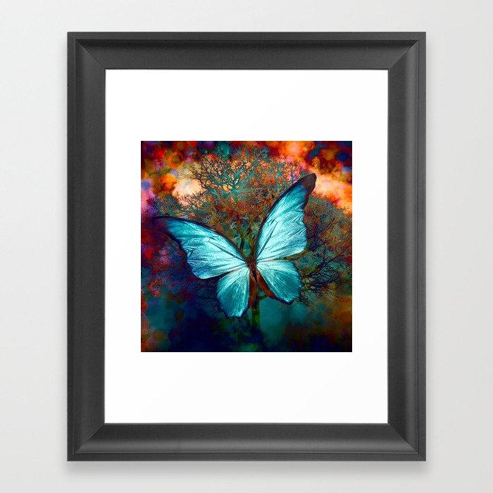 The Blue butterfly Gerahmter Kunstdruck