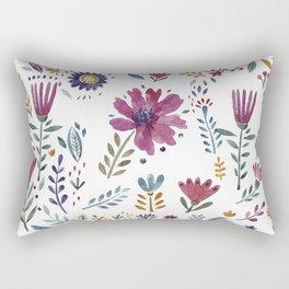 Watercolor Flowers White Rectangular Pillow