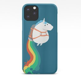 Fat Unicorn on Rainbow Jetpack iPhone Case
