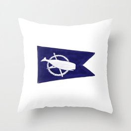 Nantucket Blue and White Sperm Whale Burgee Flag Hand-Painted Throw Pillow