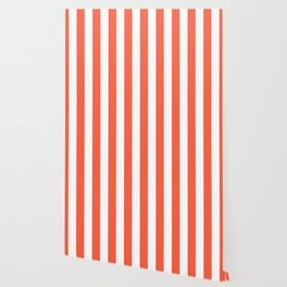 Living Coral and White Wide Vertical Cabana Tent Stripe Wallpaper