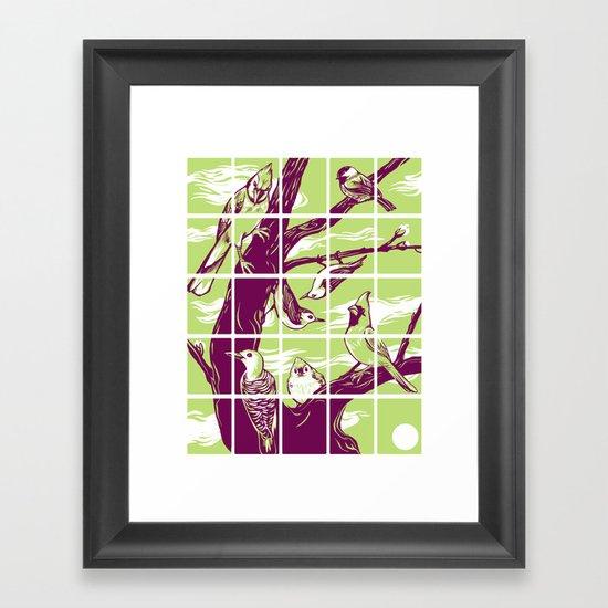 Woodcut birds Framed Art Print
